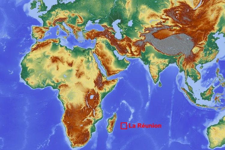 La Réunion sur la carte du monde